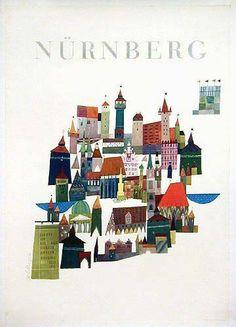 Vintage Travel Poster - Nürnberg -Germany -  by  Schillinger, c.1965.