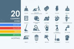 20 cleaning icons by Palau on @creativemarket
