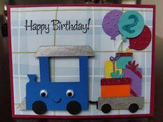 boy birthday card - chugga chugga choo choo, little _ is turning two Birthday Cards For Boys, Bday Cards, Handmade Birthday Cards, Happy Birthday Cards, Diy Birthday, Tarjetas Diy, Cricut Cards, Creative Cards, Kids Cards