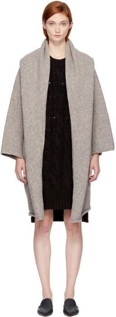 LAUREN MANOOGIAN Grey Hooded Capote Cardigan