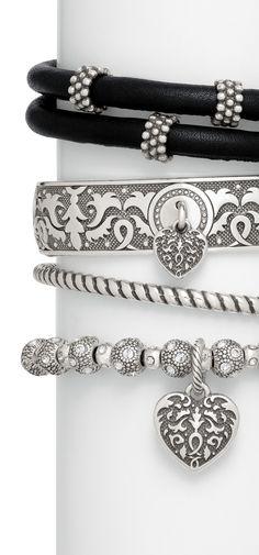 Brighton dark romance charm bracelets with Cordoba heart charms Brighton Charm Bracelet, Brighton Charms, Brighton Bracelets, Brighton Jewelry, Bangle Bracelets, Bangles, Necklaces, Fashion Accessories, Fashion Jewelry