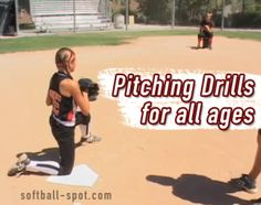 Softball Pitching Drills for all ages. One knee drills and wrist snap drills are great softball pitcher exercises for girls. Softball Pitching Drills, Softball Workouts, Fastpitch Softball, Softball Cheers, Softball Quotes, Girls Softball, Softball Stuff, Softball Shirts, Golf Quotes