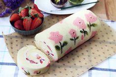 Baking's Corner: Japanese Swiss Roll - by Michelle Marie Mower Japanese Swiss Roll Recipe, Japanese Roll Cake, Japanese Food Art, Swiss Roll Cakes, Swiss Cake, Cupcakes, Cupcake Cakes, Yule, Jelly Roll Cake