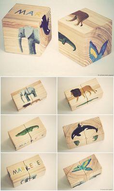 DIY Spielzeug aus Holz für Kinder, Motiv ähnlich wie mit Serviettentechnik auf das Holz übertragen