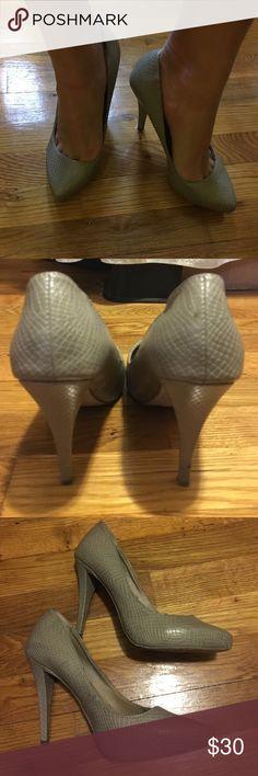 Faux snake skin Platform heels Hidden 1 inch platform, 4 inch heels, faux snake skin, Grey/nude , damage as pictured on heel, European brand bershke Shoes Heels