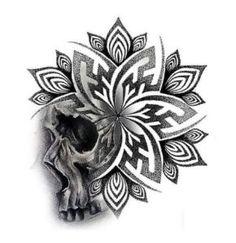 Geometric Mandala Tattoo, Geometric Tattoo Design, Mandala Tattoo Design, Skull Tattoo Design, Tattoo Design Drawings, Tattoo Designs, Geometric Tattoos Men, Skull Tattoo Flowers, Skull Rose Tattoos