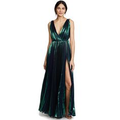 Maria Lucia Hohan Reva Side Slit Dress ($2,305) ❤ liked on Polyvore featuring dresses, atlantis, white maxi dress, v-neck dresses, white day dress, open back dresses and v neck sleeveless dress