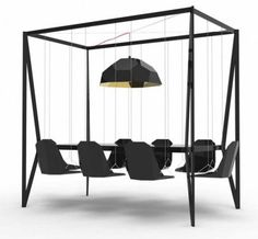 the swing dining table--cool idea! want this for outside!!!