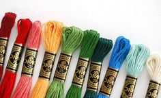 Find folk-inspired embroidery floss colors to use in your next stitching project. Find folk-inspired embroidery floss colors to use in your next stitching project. Folk Embroidery, Embroidery Stitches, Embroidery Patterns, Machine Embroidery, Wild Olive, Cross Stitch Thread, Cross Stitch Supplies, Antique Quilts, Color Combos