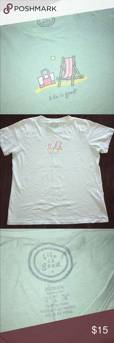 LIFE IS GOOD women's short sleeve beach tee Large LIFE IS GOOD brand. women's / ladies. short sleeve tee shirt. Size Large. Beach logo on front. Great condition. So soft. Bundle with another item in my closet for a discount! Life Is Good Tops Tees - Short Sleeve
