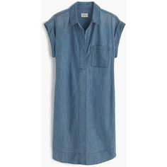 J.Crew Short-Sleeve Chambray Shirtdress (£75) ❤ liked on Polyvore featuring dresses, above the knee dress, blue chambray dress, blue dress, long shirt dress and shirt dress