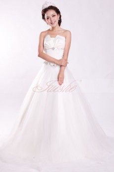 Princess Ball Gown Strapless Satin and Tulle Wedding Dress JSWD0092