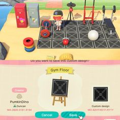 First time making own design; Gym Mats/Floor for 'Muscle Beach' - ACQR Animal Crossing Guide, Animal Crossing Qr Codes Clothes, Muscle Beach, Motif Acnl, Gym Mats, Happy Home Designer, Gym Design, Floor Patterns, Muscle Food