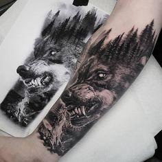 Wolf Pack Tattoo, Wolf Tattoo Forearm, Forearm Sleeve Tattoos, Best Sleeve Tattoos, White Wolf Tattoo, Tattoo Wolf, Fenrir Tattoo, Werewolf Tattoo, Animal Sleeve Tattoo