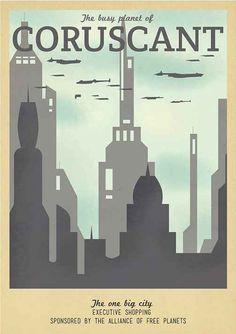 Retro Travel Poster Series - Star Wars - Coruscant Art Print by Teacuppiranha Star Wars Poster, Star Wars Art, Star Trek, Game Of Thrones, Cuadros Star Wars, Images Star Wars, Star Wars Wallpaper, Poster Series, Starwars