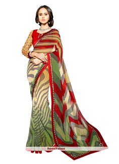 Deserving Faux Georgette Multi Colour Print Work Casual Saree