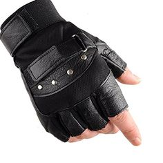 KUYOMENS Men's Cycling Half Finger Genuine Leather Gloves Excellent elasticity for safer driving, playing guitar Genuine Leather Outdoor sport gloves Adjustable leather wrist strap with Velcro Suitable for Men and Women Mens Gloves, Leather Gloves, Leather Men, Gym Gloves, Black Gloves, Mountain Bike Gloves, Mens Leather Accessories, Men's Accessories, Tactical Gloves