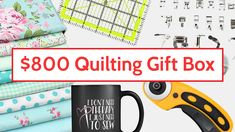 Contest here to win $800 worth of sewing materials incl. a 32 Presser Foot, Victoria Fabric, Mug, Quilting Ruler, Cutter, Blades and so much more....  #Quiltersmart #sewing #quilting #sew #patchwork