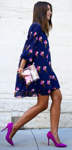 colorful & fun shift dress + heels