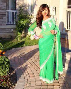Green Sari  #sari #saree #Indian #bollywood #designer #punjabi #Fashion #green #party #classic #redlips #hair #sunkiss #summer #wedding #bridesmaird #manishmalhotra #gir #desigirl