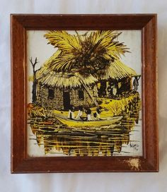 Africa African Oil Painting Original Family Tribal in the Boat Signed and Date #Realism