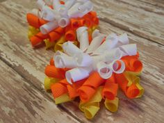 2 M2M Candy Corn Korker Hair Bows  Halloween. For all you mother's with daughters....