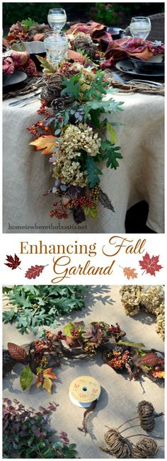 An Easy DIY, Enhancing Fall Garland! Use an artificial garland as your base and add natural elements, letting your flowers, leaves, etc. naturally fill in the gaps to soften and create a more realistic and fuller garland for your table or mantel! This is a quick project once you collected your materials. #fall #DIY