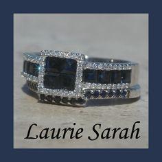 Invisible Set Blue Sapphire and Diamond Wedding Set - LS1592. $3,091.50, via Etsy.