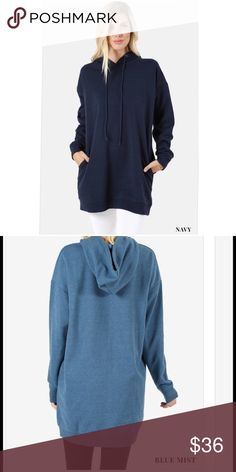 SALE Navy or Black Oversized Hoodie S/M, M/L, L/XL OVERSIZED LOOSE FIT TUNIC LENGTH SWEATSHIRTS - DRAWSTRING HOODIE - SIDE POCKETS Color choice is Navy or Black (blue mist used to show back only) BODY LENGTH: 33, CHEST: 44 approx. - MEASURED FROM S/M Tops Sweatshirts & Hoodies