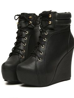 Autumn New Women Lace-up Wedge Short Boots