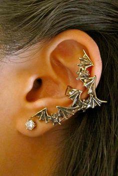 Bronze Bat Flock Ear Cuff by martymagic on Etsy, $29.00