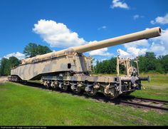 "Tucked away in a corner of Ft Lee, stands one of the few remaining WWII era Krupp rail guns. Nicknamed ""Anzio Annie"" by the allies, this was used. Army Vehicles, Armored Vehicles, Railway Gun, Big Guns, United States Army, Military Weapons, Panzer, War Machine, Military History"