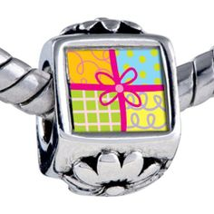 Pugster Bead Multicolored Gift Wrapped Present Beads Fits Pandora Bracelet Pugster. $12.49. Unthreaded European story bracelet design. Fit Pandora, Biagi, and Chamilia Charm Bead Bracelets. It's the photo on the flower charm. Hole size is approximately 4.8 to 5mm. Bracelet sold separately