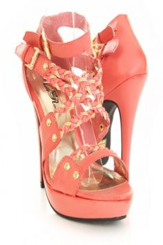 $13 @ amiclubwear.com - Coral Faux Leather Braided Accent Strap Platform Heels