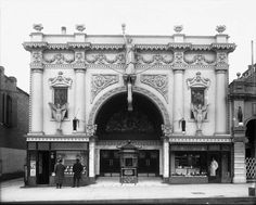 The Liberty Theater, March 15, 1912. This photograph was taken for the Nephi Plaster Company and shows an elaborately decorated faςade. Miss Liberty was eventually removed from the building and the theater was renamed the Gem. This site at 160 South State is now a parking lot for a fast food restaurant.