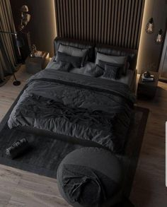 Black Bedroom Design, Black Bedroom Decor, Bedroom Bed Design, Room Ideas Bedroom, Home Room Design, Home Decor Bedroom, Home Interior Design, Modern Interior, Loft Design
