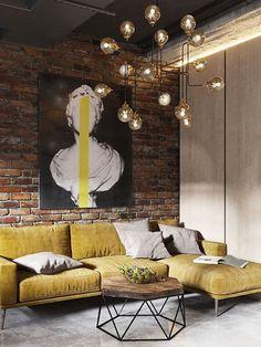 48 Most Popular Living Room Design Ideas for 2019 Images Part 26 living room decor living room ideas living room designs Brick Interior, Loft Interior Design, Industrial Interior Design, Home Design, Interior Design Living Room, Living Room Designs, Living Room Decor, Design Ideas, Cafe Interior