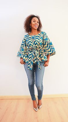 Top with flared sleeves Afro, Ruffle Blouse, African, Sleeves, Traditional, Tops, Women, Fashion, African Fashion