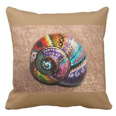 Shop Colorful Painted Snail Shell Square Throw Pillow created by Because_I_Said_So. Seashell Painting, Seashell Art, Seashell Crafts, Stone Painting, Diy Painting, Painted Shells, Painted Pots, Brown Throw Pillows, Snail Art