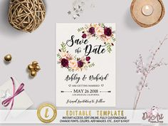 Printable Boho Floral Save the Date Template Editable Rustic