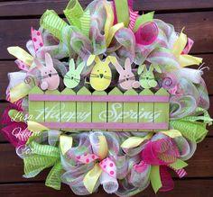 Happy Spring bunnies deco mesh wreath, Easter