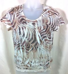 Chicos 1 Blouson Top Blouse Brown Animal Print #Chicos #Blouse #Casual