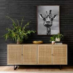 Mid-century-inspired style with an organic twist. Surrounded by mango casing, light cane weaves for a fresh look with natural depth. Angular gunmetal-finished iron legs offer an intriguing contrast of texture and tone. #sideboard #homedecor Decor, Furniture, Room, Four Hands Furniture, Home, Deco, Lighted Cane, Cane Furniture, Sideboard Designs