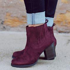 Shoespie Purple Suede-like Round Toe Fashion Booties