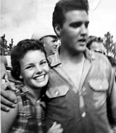 """Candid with a fan on location in Florida with scorching temperatures that required Elvis to change shirts many times during the day -    Principal photography began for """"Follow That Dream"""" on July 11, 1961 -  FTD is American musical film starring Elvis Presley made by Mirisch Productions. The movie was based on the 1959 novel Pioneer, Go Home! by Richard P. Powell.  Initial release: April 11, 1962"""