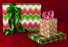 """NEW """"Zig Zag Christmas/Kraft"""", NEW """"Dotty Christmas/Kraft"""" and """"Christmas Weave""""  All selections available in 15"""", 18"""" and 24"""" widths."""