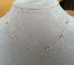 Pearl and Peridot necklace -- Hand-knotted Silk and Sterling Silver