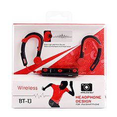 Bluetooth Headphones Sport Wireless Earbuds Stereo Earphones with Mic - Red - #aulola - #Vouchercode - #Offers