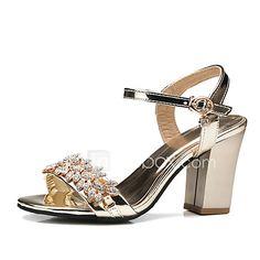 Mujer Zapatos PU Verano / Otoño Zapatos del club Sandalias Tacón Cuadrado  Dedo redondo Pedrería / Hebilla para Boda / Oficina y carrera