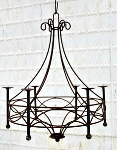 Wrought Iron Candle Chandelier Holds Pillar Candles Or Battery Lamps Lighting Fixtures Pinterest Chandeliers And